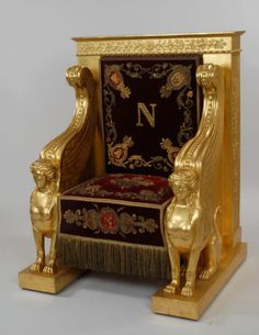 "Napoleon's Throne, with ""N"" symbol, as well as many Greek/Egyptian motifs. King Chair, Throne Chair, Throne Room, Egyptian Furniture, Gothic Furniture, French Furniture, King On Throne, Royal Throne, Pick A Seat"