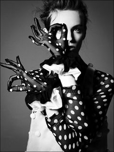 Fashion Photography: Black and White polka dot gloves ~ Model Myf Sheperd for Flair Magazine. Photographer Jean-Francois Campos ~ 2011