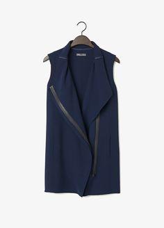 Asymmetric Leather Trim Vest | Vince
