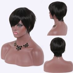 Heat Resistant Fiber Spiffy Ultrashort Natural Black Capless Side Bang Straight Wig For Women #>=#>=#>=#>=#> Click on the pin to check out discount price, color, size, shipping, etc. Save and like it!