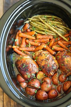 Slow Cooker Honey Garlic Chicken and Veggies  The only work involved in this easy dish is to throw everything in your Crock-Pot and turn it on!  66 Crock-Pot Recipes (that You'd Never Guess Were Made in a Slow Cooker)!