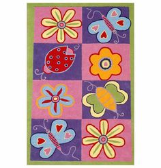 <br><li>Brighten up any kid's bedroom or playspace decor with this hand-tufted novelty rug<li>Playful rug features whimsical flower, ladybug and butterfly designs <li>Rug presents designs in pink, yellow, blue, red, and green