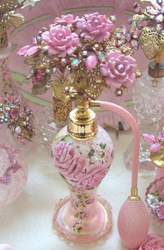 Romantic Rose Boudoir ~ Vintage Iridescent Art Glass Perfume Bottle  with Hand Painted Roses
