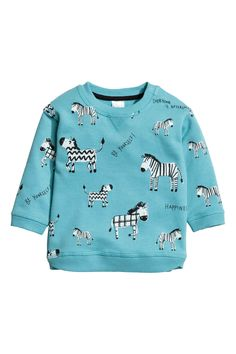Sweatshirt with a motif - Turquoise - Kids | H&M GB 1