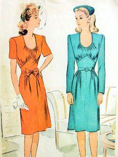 1940s Lovely Dress Pattern McCall 5773 Low U Shape Neckline Gathered Bodice High Shaped Midriff Beautiful WW II Dress Bust 30 Vintage Sewing Pattern