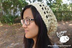 Crochet Slouchy Hat in Ivory