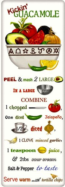 Amazing Guacamole Recipe 100% Cotton Flour Sack Dish Towel Tea Towel