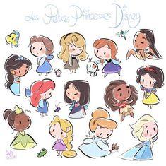 chibi disney princesses by david gilson Cute Disney Drawings, Disney Princess Drawings, Disney Princess Art, Kawaii Drawings, Disney Art, Cute Drawings, Drawing Disney, Disney Princess Cartoons, Princess Rapunzel