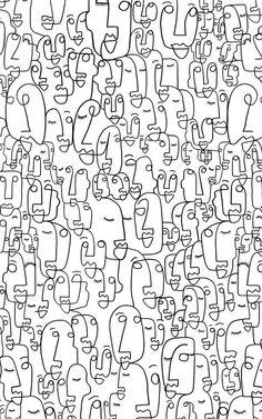 Face Line Drawing Wallpaper Mural | Murals Wallpaper