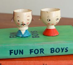 Vintage Italian Wooden Egg Cup Holders Boy and Girl Set by lara111