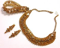Here's Your Sparkle...  Juliana Style Vintage Amber Rhinestone Parure by CrimsonVintique, $125.00