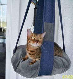 Denim & Grey Velour Single Kitty Cloud Cat Bed  by 7CatsHeaven, $45.00