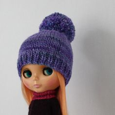 New to AnneArchy on Etsy: Meg Bobble Hat for Blythe knitting PATTERN worsted weight knit pom pom doll hat - instant download - permission to sell finished objects (4.00 USD)