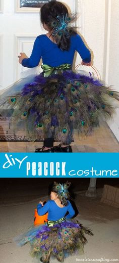 DIY Peacock Costume - Step by step directions on how to make a girl's peacock costume. And it's easier to make than you might think! This Halloween Costume for Kids has a tulle tutu skirt and a peacock feather bustle. Follow us for more great Kids Halloween Costumes.