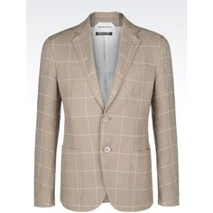 GIORGIO ARMANI Single-Breasted Jacket In Linen ($1,308) ❤ liked on Polyvore featuring men's fashion, men's clothing, men's outerwear, men's jackets, khaki, mens khaki jacket, mens slim jacket, mens slim fit jacket and mens linen jackets