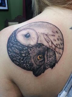 Great horned owl/barn owl stylized yin yang. Tattooed by David Boggins of American Crow, Gahanna OH