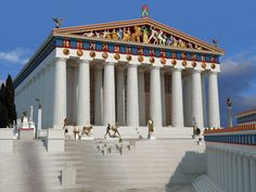A reconstruction of the Parthenon by John Goodinson. The temple was dedicated to the goddess Athena, whom the people of Athens considered their patron – Slide 10 In Ancient Times, Ancient Rome, Ancient Greece, Ancient History, Ancient Greek Architecture, Classic Architecture, Amazing Architecture, Parthenon, Acropolis