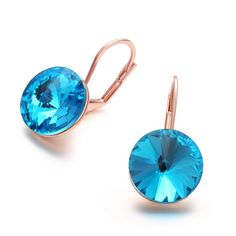 Cute New Lady Girl Rose Gold Plated Blue Crystal Ear Stud Earrings Jewelry Gifts #bona #Cameo