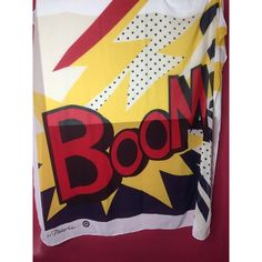 3.1 Phillip Lim Pop Art Boom Primary Colored Scarf This is a Phillip slim for Target Scarf. It is a chiffon material has a beautiful red blue and yellow color. It has a pop art theme and says boom. Never used. 3.1 Phillip Lim for Target Accessories Scarves & Wraps