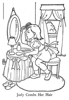 Published in 1955 by Western Publishing Company, Inc.A Drawing by Eileen Vaughan. Coloring Pages To Print, Coloring Book Pages, Printable Coloring Pages, Coloring Pages For Kids, Coloring Sheets, Art Drawings For Kids, Outline Drawings, Old Paper Background, Vintage Coloring Books