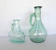 Two Vintage Green Glass Cruets by FairfaxDavis on Etsy, $30.00