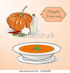 Pumpkin cream soup set. Ingredients and soup in the plate on the light background.