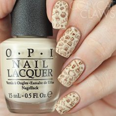 UberChic Beauty Coffee Addict Stamping Plate over OPI 'You're So Vain-illa' ~ by Copycat Claws