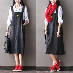 Black Cotton Suspender Skirt  Oversize Casual Outfits Women Clothes D0502A