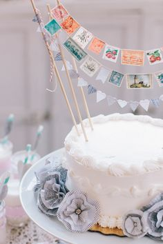 Postage stamp garlands and envelope lining flowers for Stitch Craft Create Magazine! Photo by white rabbit studio Wedding Sweets, Cool Wedding Cakes, Wedding Cake Toppers, Cake Bunting, Cake Banner, Mini Bunting, Flag Cake, Pretty Cakes, Beautiful Cakes