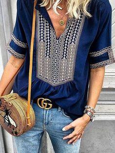 2b75caab0d593b Short Sleeves V-neck Floral Blouses&shirts Tops