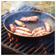 Winter Woodland Picnic: family coming up over holiday season and no room to host a party at home? Then head outdoors for a winter feast. Sausages wrapped in bacon.