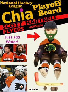 Time to start your NHL playoff beard. If you cannot try the Chia Scott Hartnell version. Available now.
