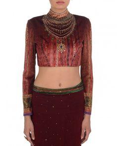 Red Satlada Chiffon Saree - Saris - Apparel