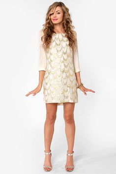 Gold Standard Metallic Cream Embroidered Dress - $59 : Fashion Print and Floral at LuLus.com