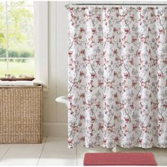 Vcny Home Multi-Color Jasmine Floral 14-Piece Bath Set, Shower Curtain Hooks and Bath Rug Included, Pink