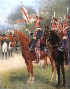 Jan V. Chelminski - Groupe de lanciers avec au centre le porte-étendard et au fond, Napoléon.