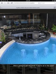 Paving pool coping sunken oasis style bar beyond glass fence and off BBQ/Dining area