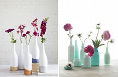 Vases of bottles with their own hands - 29 photos with ideas for creativity - Glass and plastic bottles have a wide variety of shapes and sizes, which makes them an excellent material for making vases. Diy Home Decor On A Budget, Diy Home Improvement, Plastic Bottles, Dollar Stores, Vases, Glass Vase, Creativity, Invitations, Photos