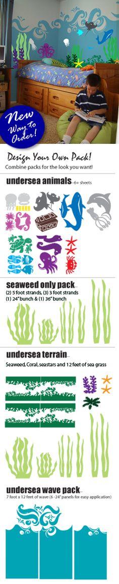 Bright Ocean Wall Decals - seaweed, waves etc.