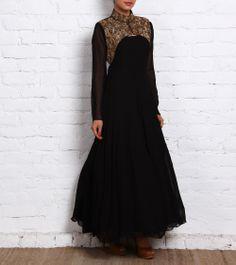 Black Embellished Georgette Anarkali with Jacket