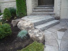 front entrance Mondrian slab natural stone steps garden(Porch Step Entrance)