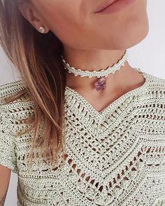 #GetTheLook ❤ Choker de Crochet de seda Menta com pedra Ametista bruta + Blusa Queen Menta ❤❤❤ #VanessaMontoroStyle #ChokerFever #RawStone #VanessaMontoroCrochet #VanessaMontoroSummer #Authentic #Luxury #HandMade #Crochet #FeitonoBrasil #MadeinBrazil #PositiveFashion