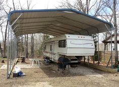 Cheap Metal Carports | RV shelter with a regular style roof shown with 4' braces