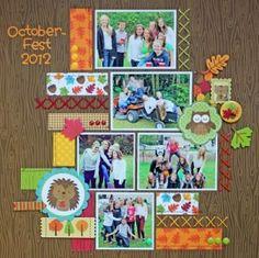 Octoberfest 2012 scrapbook layout by Kathy Skou for Doodlebug Design Could do with safari park photos Scrapbook Templates, Scrapbook Designs, Scrapbook Sketches, Scrapbook Page Layouts, Scrapbook Paper Crafts, Baby Scrapbook, Scrapbook Cards, Scrapbook Journal, Grandes Photos