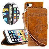 #2: iPhone 7 Case iPhone 7 Leather CaseNacycase Candywe iPhone 7 Brown Premium PU Leather Card Slot /Cash Style with Back kickstand Magnetic Flip Cover Case for iPhone 7