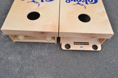 Add Hinged Flip Out Cup Holders on Full Size Stained Cornhole Boards Cornhole Rules, Make Cornhole Boards, Cornhole Decals, Cornhole Game Sets, Diy Yard Games, Backyard Games, Backyard Projects, Outdoor Projects, Wood Projects