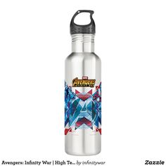 Avengers: Infinity War | High Tech Avenger Group Stainless Steel Water Bottle. Awesome Marvel Infinity War merchandise to personalize. #marvel #avengers #gifts #birthday #birthdayparty #birthdaycard #personalize #kids #shopping