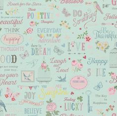 A beautiful wallpaper from Rasch which offers birds, flowers and words of affirmation for a great look. Rasch is available to buy at Go Wallpaper UK. Wallpaper Teal And Pink, Pink Wallpaper Bedroom, Wallpaper Uk, Paper Wallpaper, Wallpaper Quotes, Beautiful Wallpaper, Shabby Chic Wallpaper, Shabby Chic Theme, Shabby Chic Bedrooms