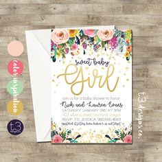 Whimsical Gold Confetti Baby Shower Invitation, girl baby shower invitation, girl baby shower invite, pink & gold, navy, boho, watercolor by T3DesignsCo on Etsy https://www.etsy.com/listing/523561947/whimsical-gold-confetti-baby-shower