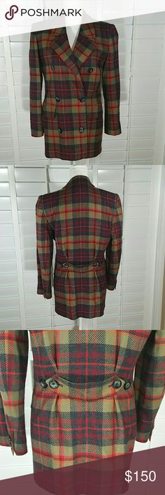"""Valentino Miss V Plaid Blazer Super cute blazer with stylish fall colors  Double breasted, full lining, 63% acetate 37% rayon made in Italy.  There is a micro hole on the lower part of the inner right sleeve by the wrist. Check the last picture Chest 19.5"""" sleeve 23"""" shoulders 16.5"""" collar to hem 29"""" Valentino Jackets & Coats Blazers"""